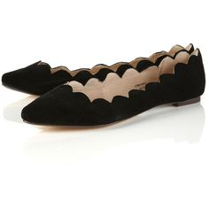 Monique Black Scalloped Suede Pumps ($28) ❤ liked on Polyvore