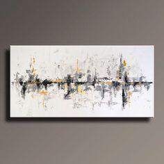 """72"""" große ORIGINAL ABSTRAKT schwarz weiß grau Gold Gemälde auf Leinwand zeitgenössische abstrakte moderne Kunst Wanddekoration - ungedehnt von itarts auf Etsy https://www.etsy.com/de/listing/226834796/72-grosse-original-abstrakt-schwarz"""