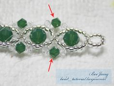 Tutorial : Crystal Bracelet #15 Level : Beginner The design is from Thai Crystal Book. Equipment : - Swarovski Bicone Crystal 3 mm. - Swarovski Bicone Crystal 4 mm. - Swarovski Round Crystal 6 mm. - Seed Bead 11/0 - Nylon Thread - Clasp and Jumprings The deep green color here is Palace Green…