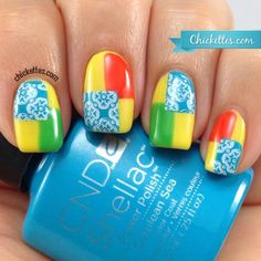nails.quenalbertini: Color Blocking w/Stamps using CND Shellac Paradise Collection