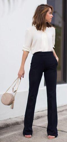 Black wide leg trouser + ivory blouse.... | Street Fashion