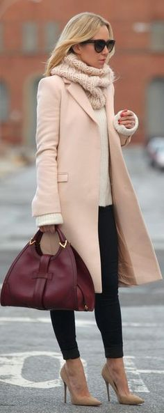 Pink/ pastel coat was all the rave for winter 2013. Pair it with white knit and black skinny pants and a pair of nude heels for transition into the cool spring. #tingtingstyling #pastel #outfitsinspirations