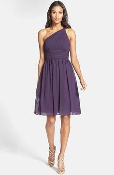 Donna Morgan 'Rhea' One Shoulder Chiffon Dress   Nordstrom (grey ridge color would also be fine)