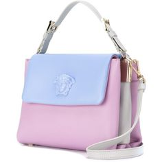 Versace two-tone Medusa tote ($1,326) ❤ liked on Polyvore featuring bags, handbags, tote bags, genuine leather tote, blue tote, blue purse, leather purses and leather tote
