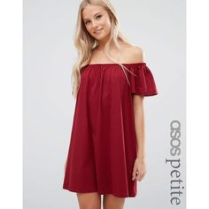 ASOS PETITE Off Shoulder Mini Dress ($22) ❤ liked on Polyvore featuring dresses, petite, red, off the shoulder short dress, red mini dress, off shoulder mini dress, loose dresses and asos