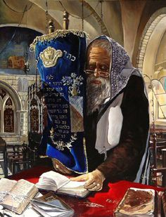 Rabbi with Torah Cultura Judaica, Arte Judaica, Jewish History, Jewish Art, Shabbat Shalom Images, Temple In Jerusalem, Estilo Art Deco, Torah, Original Paintings