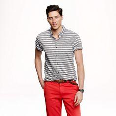 Slim Secret Wash short-sleeve shirt in indigo stripe