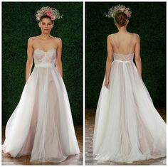 Watters wedding dress with illusion straps