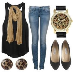 How to wear a scarf in the summer. Light camel coloured scarf, black flowy tank, skinny jeans, flats, cute but simple accessories.