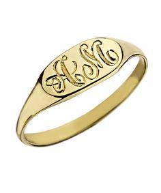 Gold Petite Signet Pinky Ring