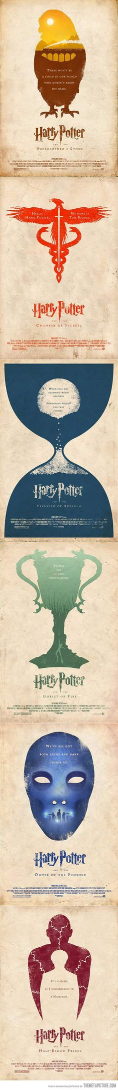 Alternative Poster Versions Of Harry Potter Movies. Absolutely beautiful.