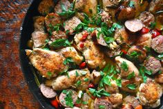 Chicken Scarpariello is the latest adventure in my never-ending search for amazing Italian-inspired dishes. In this classic dish, chicken thighs are pan-seared and cooked in a white wine and chicken broth sauce, infused with rosemary, garlic, lemon juice, and topped sweet cherry peppers.