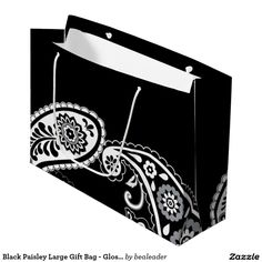 Black Paisley Large Gift Bag - Glossy