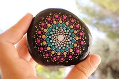 Hand painted rocks, Mandala stone art, Mandala rock art, Meditation rocks, Yoga gift, Mandala Art, Unique gift for her, Tribal mandala art, Hand painted stone, Boho chick decor, Unique mandala art, Bohemian home decor, bohemian dot art   Hi everyone, Thank you for visiting my shop :)  This hand-painted Mandala Stone was picked from the beautiful sea of galilee in israel. I enjoyed every second making it. I choose the stones very carefuly one by one, according to their shapes and texture…
