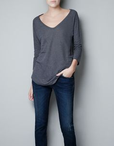 BASIC LINEN T-SHIRT - T-shirts - Woman - ZARA United States