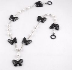 Unique Butterfly And Pearl Pendant Necklace by LLDArtisticJewelry, $149.95