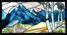 Stained glass panel Grand Tetons Spring by JudiHartmanGLASSART, $250.00