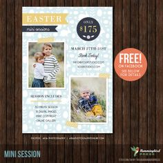 Easter Mini Session template FREE on Facebook for the month of March 2014!  Simply become a fan at:  http://www.facebook.com/pages/The-Hummingbird-Press/198748650202793 INSTANT Download Easter Mini Session by TheHummingbirdPress, $8.00