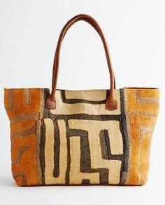 Bag made with kuba cloth