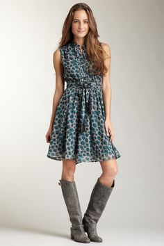 Hazel Printed Dress with Ruffle Trim and Waist Tie