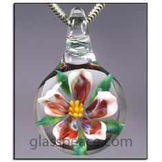 SALE Red Purple and White Glass Flower Pendant - Hand Blown Glass Jewelry by Glass Peace $15.00