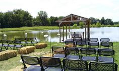 The north shore of the pond is set up for a wedding ceremony at the Civil War Ranch in Carthage, MO.