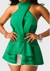 Flouncing Halter Neck Sleeveless Open Back Asymmetric Hem Green Blouse, fashion, sassy, stay cool and make you stand out from the crowd. shop now, don't wait. Trendy Tops For Women, Blouses For Women, Cheap Blouses, Normcore, Green Blouse, Black Blouse, African Dress, African Fashion, Fashion Dresses