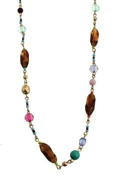Colorful Beaded Long Necklace #Romwe