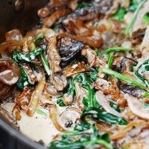 Sautéed Spinach, mushrooms, and caramelized onions