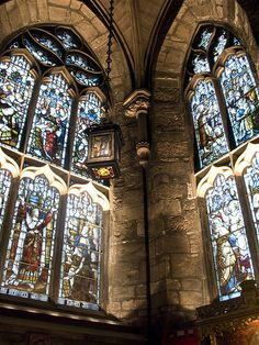St. Giles Cathedral/The High Kirk, Edinburgh, Scotland. We went here for midnight Christmas Eve Service one time.  Will never forget that night.