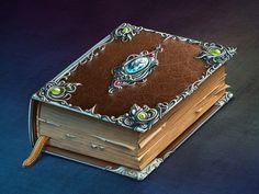 Magic Book designed by Oleg Chulakov Studio. Fantasy Weapons, Fantasy Rpg, Fantasy Books, Game Props, Game Icon, Magic Book, Fantasy Inspiration, Book Of Shadows, Game Design