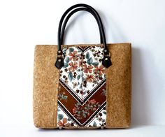 Cork Bag, Synthetic Leather Handles, Zip top fastening, Batiste Fabric, Bag Feet, Handbag, Shoulder Bag by farpelas on Etsy