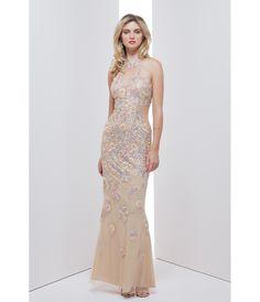 Preorder - Mignon HY1442 Pale Gold Sexy Illusion Halter Long Dress 2016 Prom Dresses $358.00 AT vintagedancer.com
