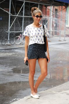 black printed shorts, white printed top, and slippers #fashioninstacom  // @dressmeSue pins real outfits