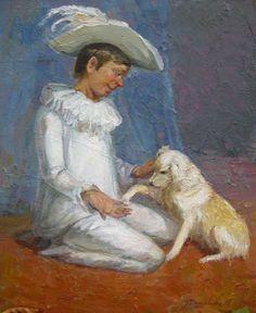 Harlequin with puppy- Huile sur toile - SERGIU DASCALCIUC