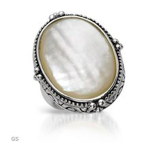 Mother Of Pearl Sterling Silver Cocktail Ring $55.50