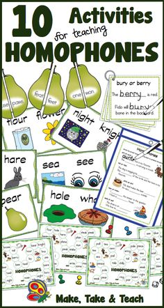 10 great activities for teaching homophones.  Great for both direct instruction and literacy centers.