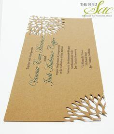 "Kraft Paper Wedding Invitation 4""x9""-Wedding-Invitations-Unique Wedding Invitations The Sac"