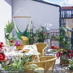Der Grüne Hängesessel Verspricht Entspannte Sonnenstunden Auf Der Terrasse.  Mit Vielen Zierpflanzen, Blumen Und