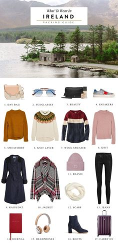 A packing checklist for what to wear in Ireland! The weather in Ireland can be quite unpredictable so here's everything you should pack for visiting the Emerald Isle!