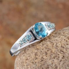Madagascar Paraiba Apatite Men's Ring in Platinum Overlay Sterling Silver (Nickel Free)