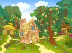La ilustraci n muestra tres fabulosa casa diferente en un claro del bosque y un huerto de manzanas I Foto de archivo