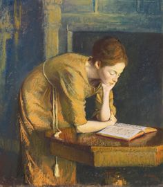 Woman reading (The artist's wife) by Aaron Shikler. Pastel on paperboard, 1962.