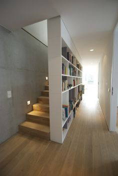 Modern Interior with Stunning Bookshelf Ideas for Book Lovers – Futurist Architecture Modern Interior, Home Interior Design, Interior Architecture, Futuristic Architecture, Interior Ideas, Interior Stairs, Apartment Interior, Hall Interior, House Stairs