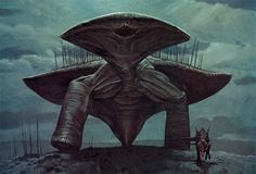 Groveback from the fictional planet Darwin IV. Art by Wayne Barlowe from his book, Expedition. Also seen on the Discovery Channel program Alien Planet.