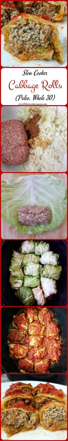 Crock-Pot Cabbage Rolls - ground meat, kool cabbage, cauliflower rice, diced tomatoes, onion, Italian seasoning/oregano, salt, pepper, garlic cloves (Whole 30 Recipes Whole30)