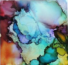"Lou Jordan Fine Art: ""Tender Blossoms"" Original Alcohol Ink Abstract Painting by New Orleans Artist Lou Jordan"