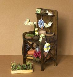 Миниатюрное растение столик для кукольного домика по DinkyWorld на etsy