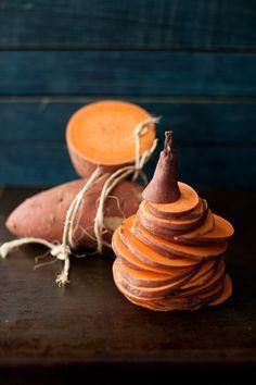 Sliced Sweet Potatoes for Baked Chips from Melangery