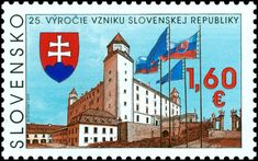 Slovensko - Slovakia Stamp - January 2018 - Anniversary of the Establishment of the Slovak Republic Bratislava, 25th Anniversary, Coat Of Arms, Postage Stamps, Germany, Design, Castles, Countries, France